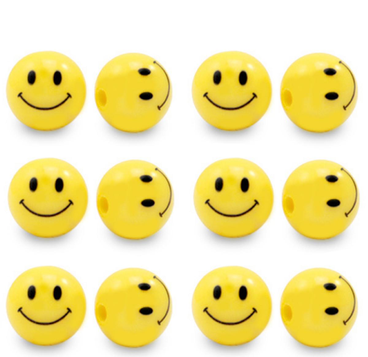 Acrylperlen Smiley 10mm 35 Stück, Farbe wählbar