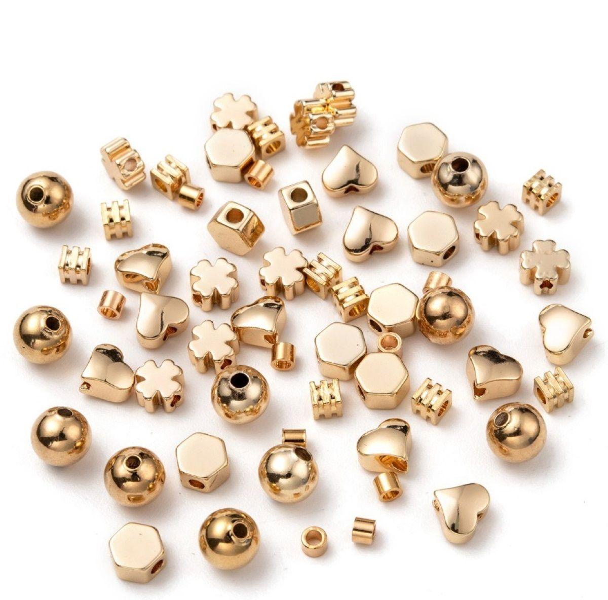 Armband Metallperlen Set Gold 1 Box 60 Perlen