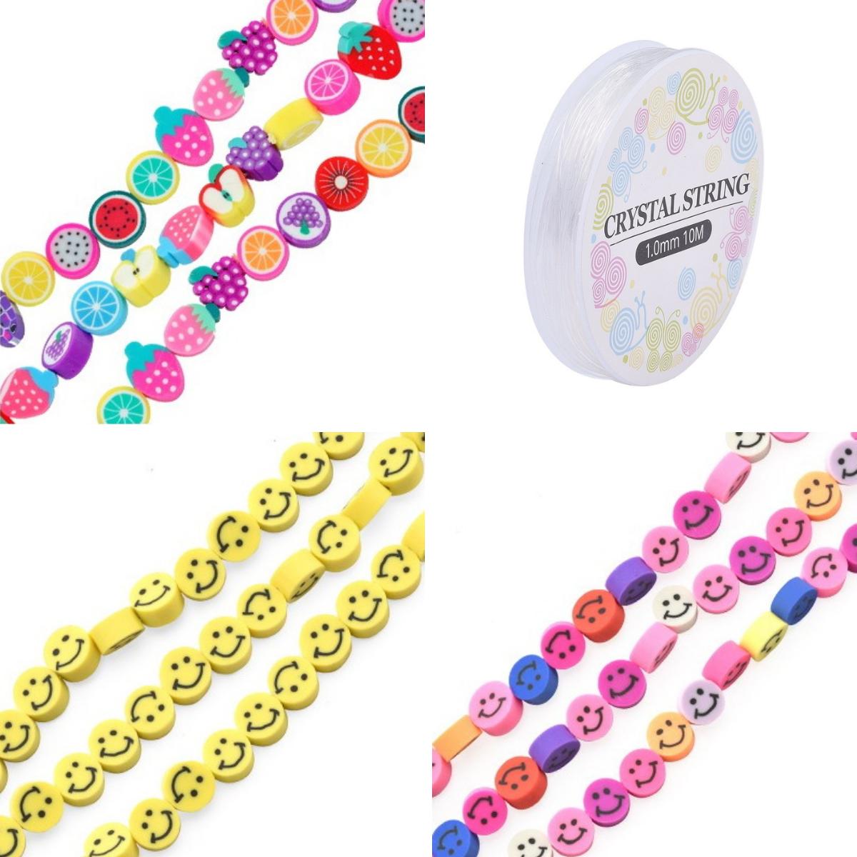 Bastel Perlen Set Smileys, Früchte, Armband Perlen aus Polymer Clay
