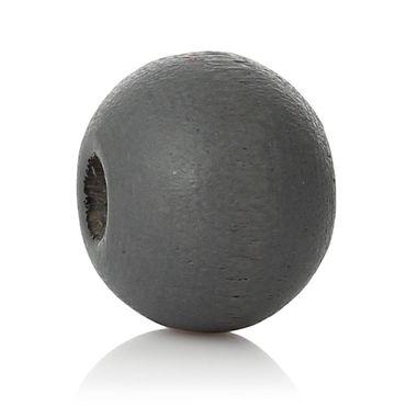Sadingo Holzperlen, Holzkugeln - 50 Stück - 6 mm - Dunkelgrau - Perlen zum basteln und fädeln