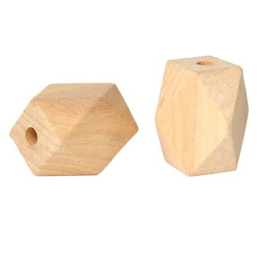 Holzperlen, Polygone - 10 Stk. - 26,5 x 20 mm