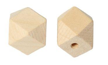 Holzperlen, Polygone - 30 Stk. - 2 x 2 cm