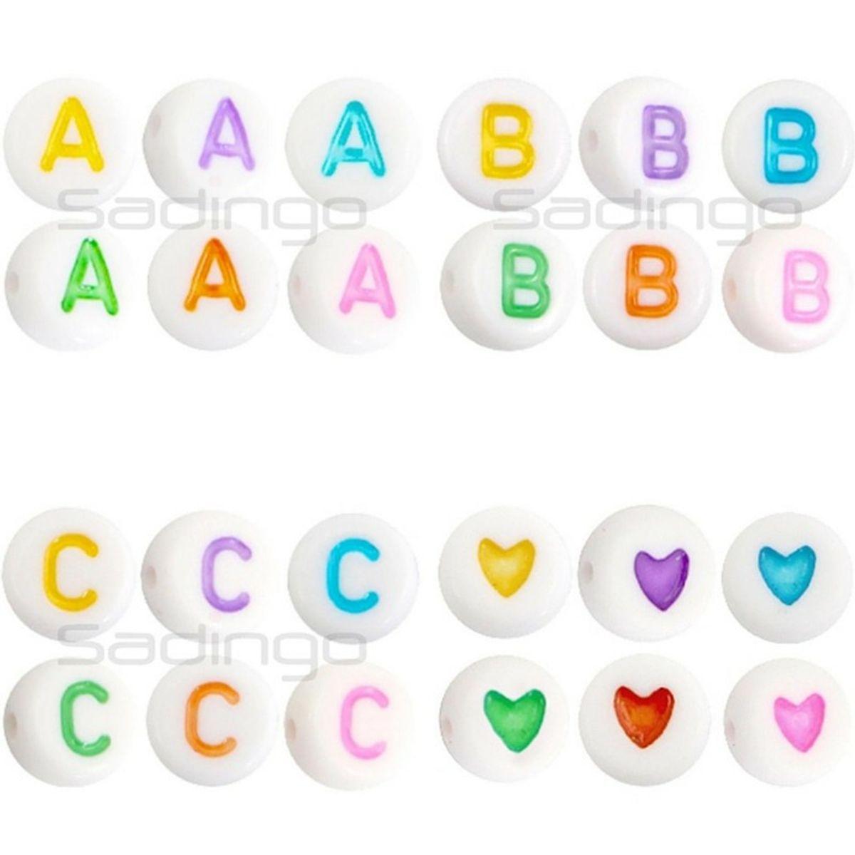 50 Buchstabenperlen PERLEN 7 mm  BUCHSTABEN von A-Z auswählbar