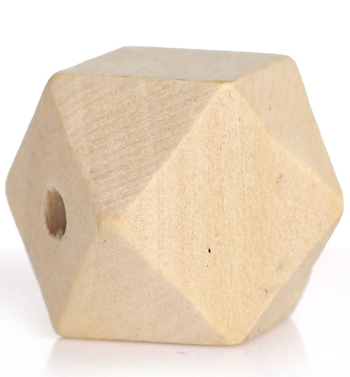 Eckige Holzperlen, Polygone - 20 Stück - 16 x 16 mm