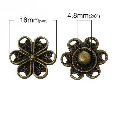 1 Metall Druckknopf Blume - Bronzefarben