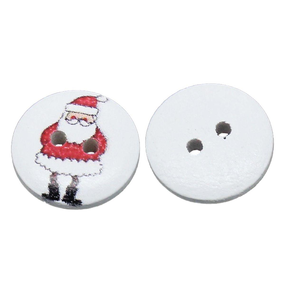 Holzknöpfe Weihnachtsmann - 10 Stück - Ø 1,5 cm