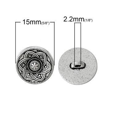 Metallknöpfe - 10 Stk. - Ø 1,5 cm - Blumenmuster