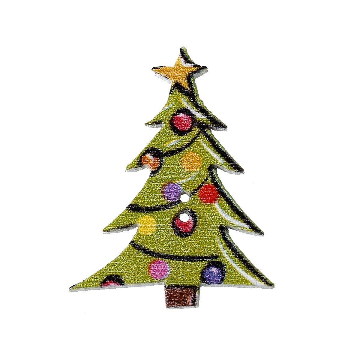 Holzknöpfe Weihnachten, Weihnachtsbaum - 10 Stk.