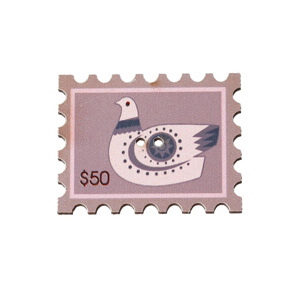 Holzknöpfe / 10 Stk. / Briefmarken