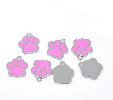 1 Metallanhänger Tierpfote - Silber, pink