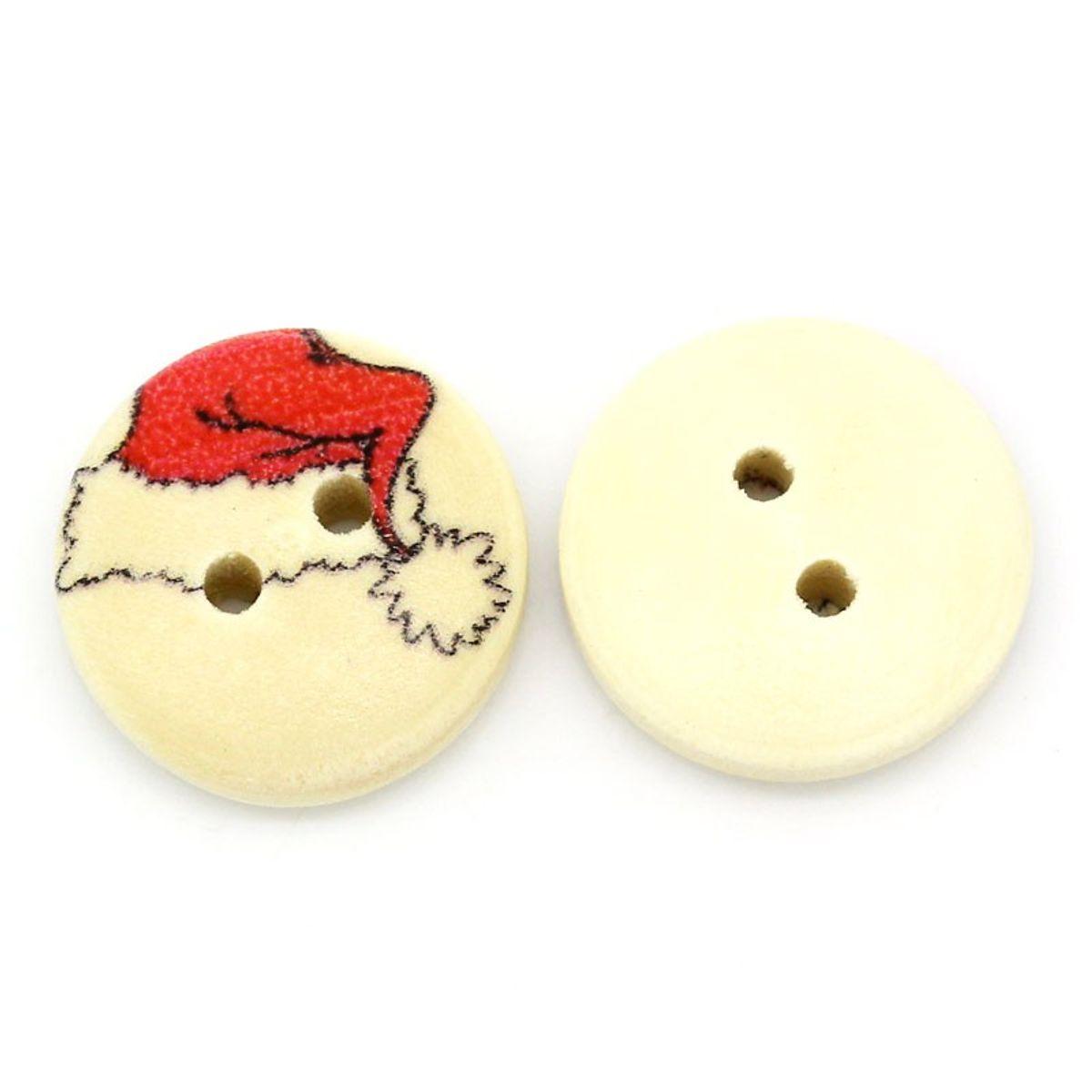 Holzknöpfe Weihnachtsmütze - 10 Stück - 1,5 cm