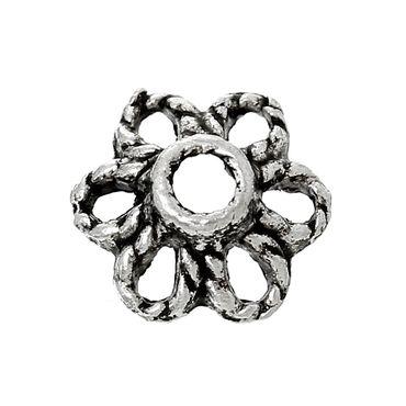 Perlenkappen - 50 Stk. - Antiksilber - 6 x 6 mm