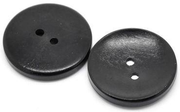 Holzknöpfe Schwarz - 10 Stück - 30 mm