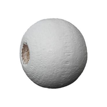 Weiße Holzperlen - 50 Stk. - Ø 6 mm - Durchgebohrt