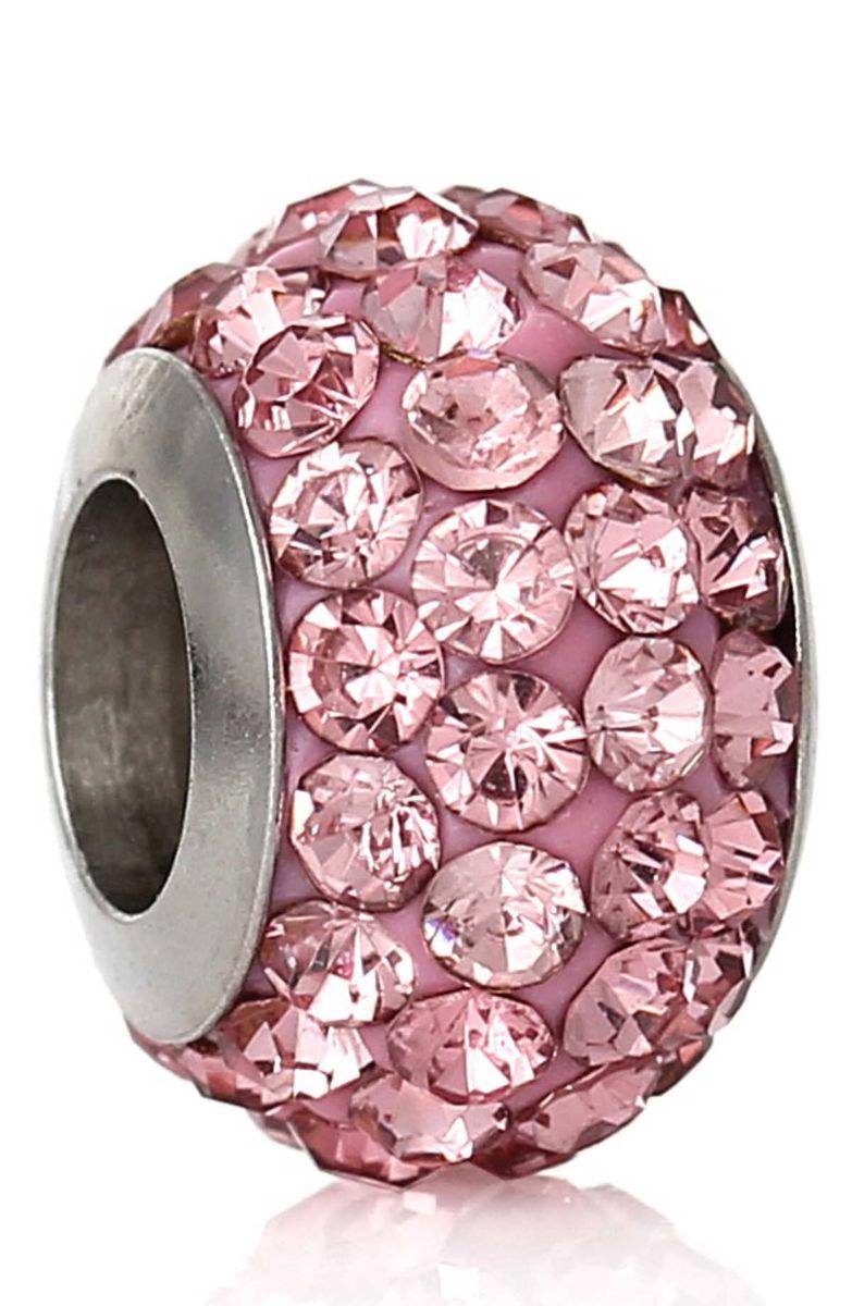 Charm Perle Silber Rosa Strass, 1 Stück 12mm