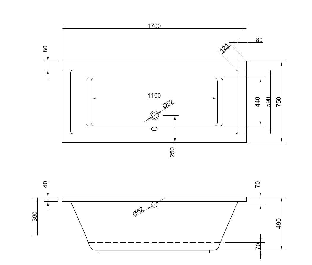 tiefe badewanne 170 x 75 cm mit seitlichem berlauf. Black Bedroom Furniture Sets. Home Design Ideas