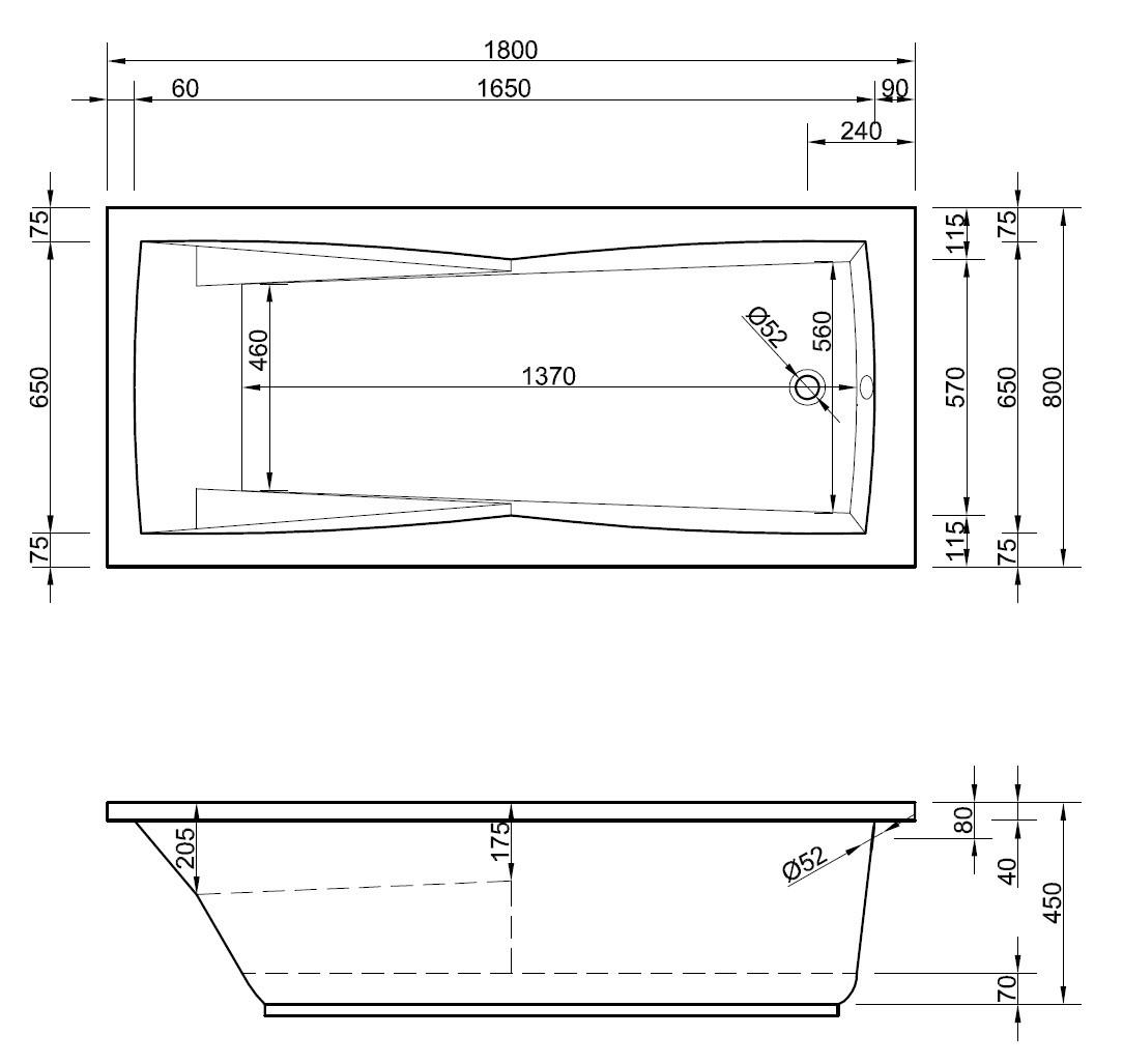 badewanne rechteck 180 x 80 cm mit armlehnen und gro er duschzone. Black Bedroom Furniture Sets. Home Design Ideas