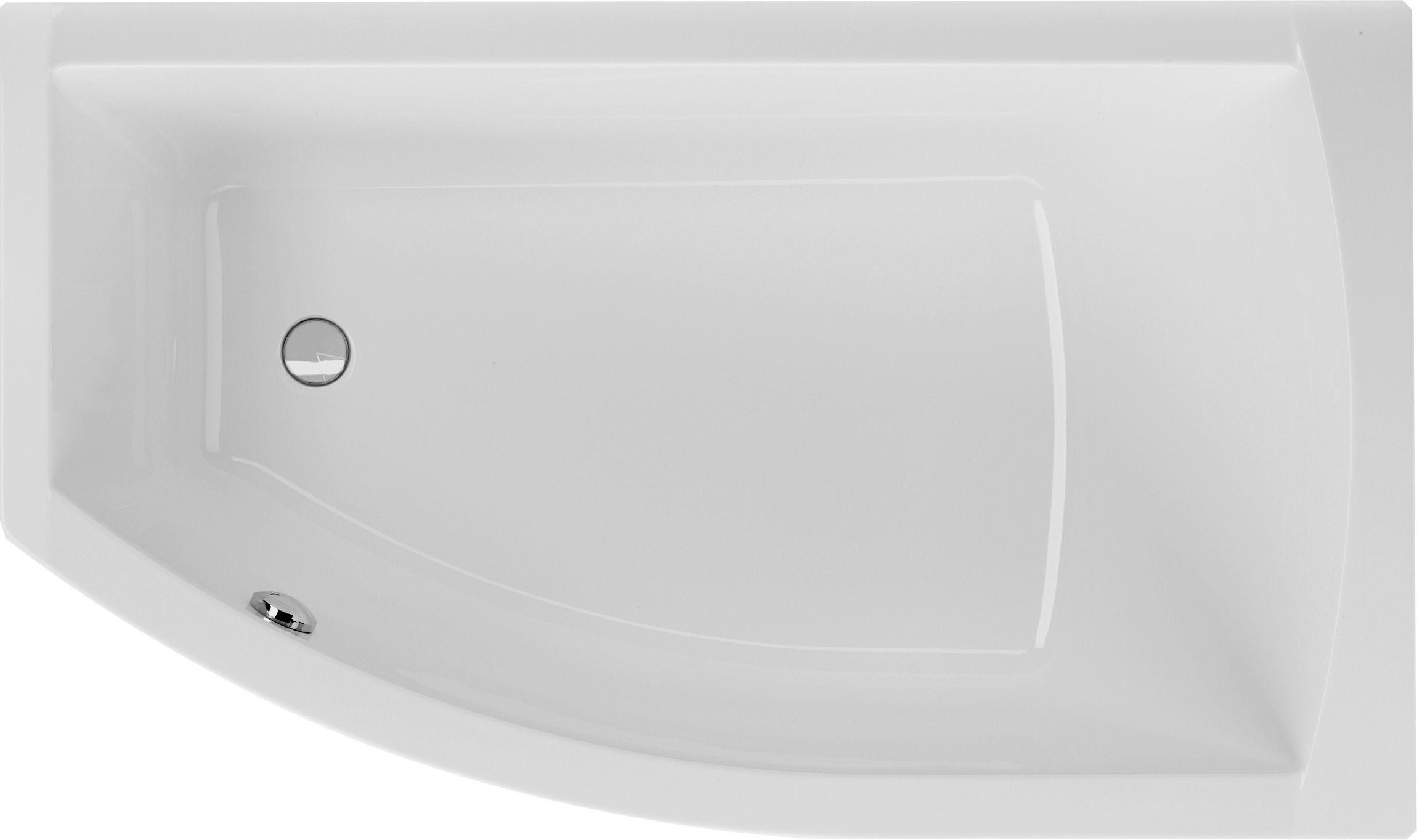 Raumsparbadewanne 150 x 85 cm asymmetrische Eckwanne Trapezform