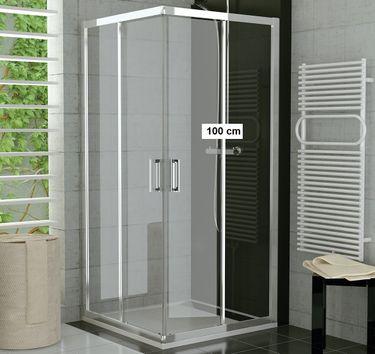 Duschkabine Eckeinstieg 100 x 90 x 190 cm Schiebetür