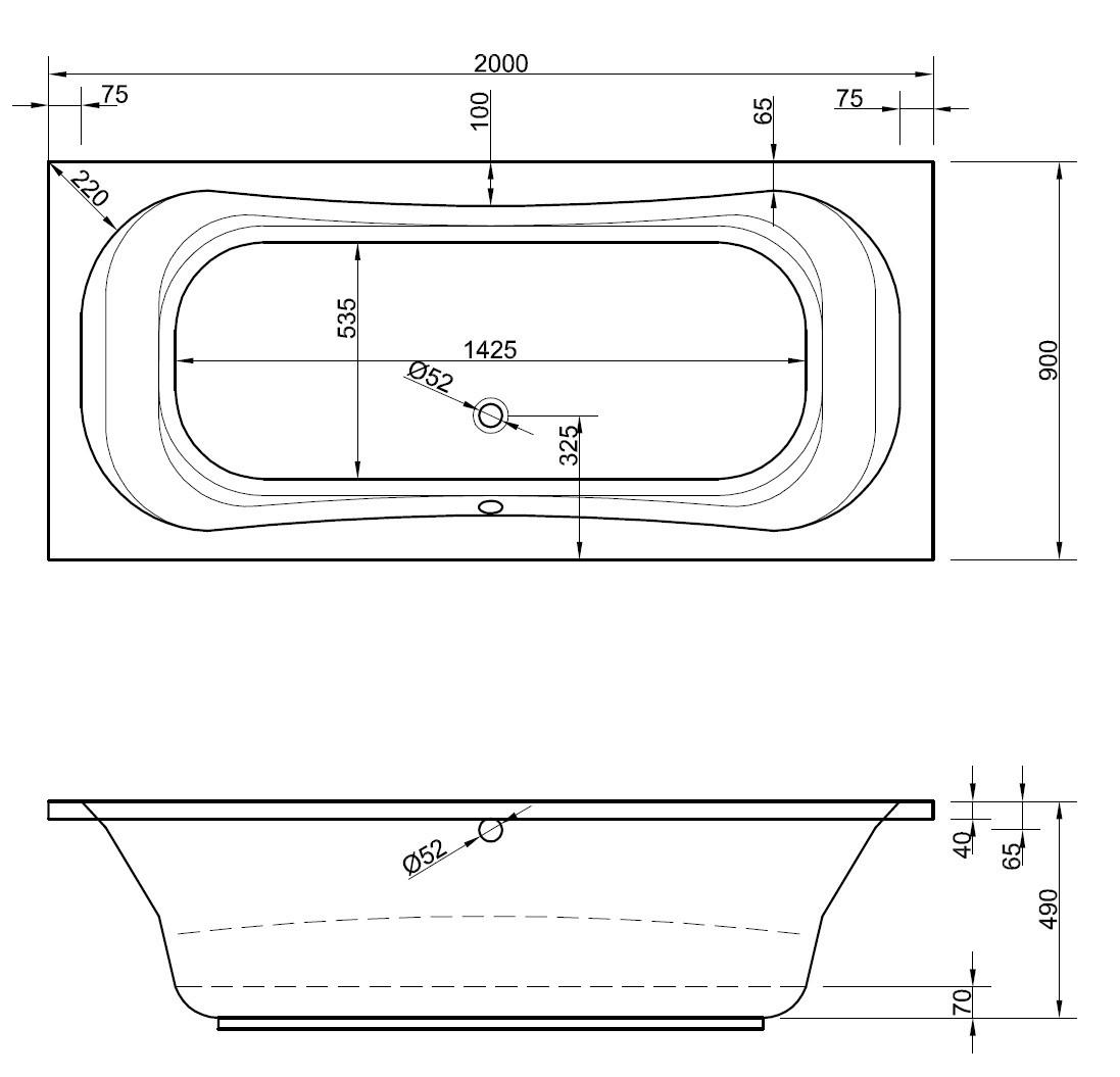 gro e badewanne 200 x 90 cm f r zwei 2 personen gro e menschen. Black Bedroom Furniture Sets. Home Design Ideas