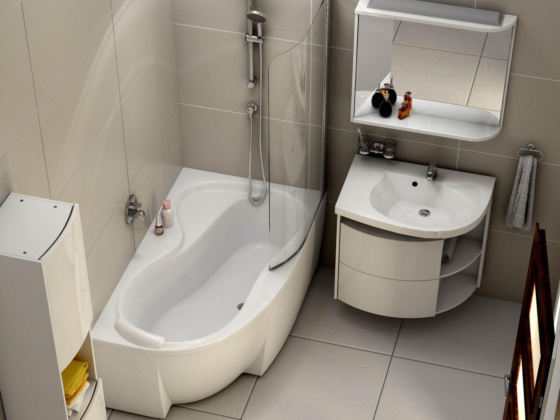 Asymmetrische badewanne sch rze 160 x 95 cm und duschbereich for Asymmetrische badewanne 170