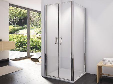 dusche t r seitenwand 100 x 100 x 195 cm duschabtrennung dusche t r mit seitenwand. Black Bedroom Furniture Sets. Home Design Ideas