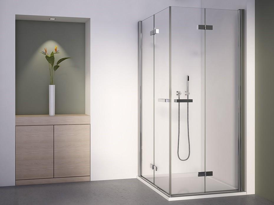Duschabtrennung Eckeinstieg 70x70 Drehfalttür Glas mit 2 Falttüren