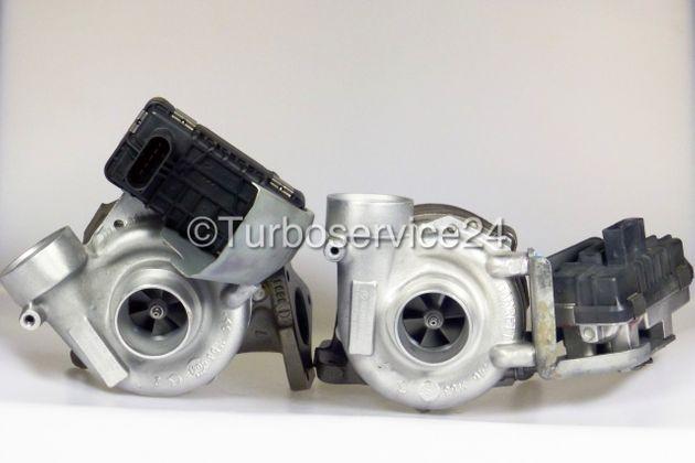 Bi-Turbolader (Rechts und Links) für Mercedes E-Klasse, G-Klasse, M-Klasse, S-Klasse 400 CDI (W211, W463, W163, W220) / 184 KW - 250 PS / 191 KW - 260 PS / OM628 724495 724496 717384 709720 717383 709719