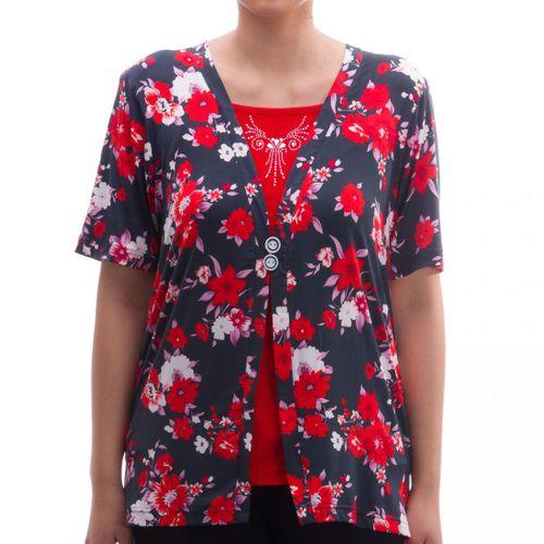 Romesa - Viskose Shirt 2i1 Optik Rundhals T-Shirt mit floralem Druck - Hollywood Kollektion – Bild 1