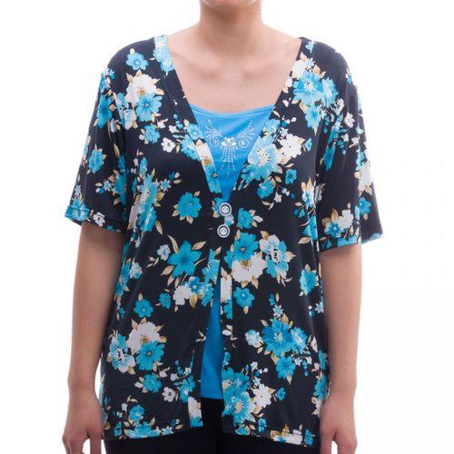 Romesa - Viskose Shirt 2i1 Optik Rundhals T-Shirt mit floralem Druck - Hollywood Kollektion – Bild 5
