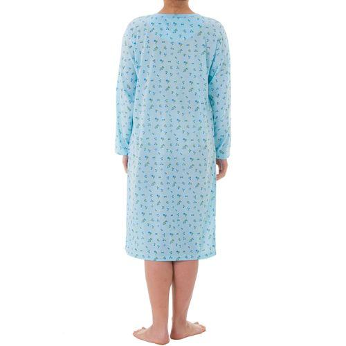Lucky -  Nachthemd langarm Damen floraler Druck Pastellfarben und Stickerei – Bild 8