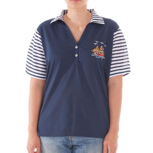 Romesa - sportives Polo Shirt im marine Look mit Strass Knöpfen – Bild 1