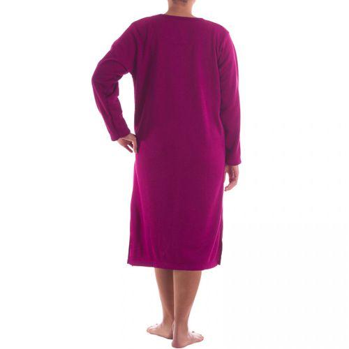 Romesa -  Thermo Nachthemd  angerauht unifarbend mit hochwertiger Stickerei, kuschlig warm – Bild 4