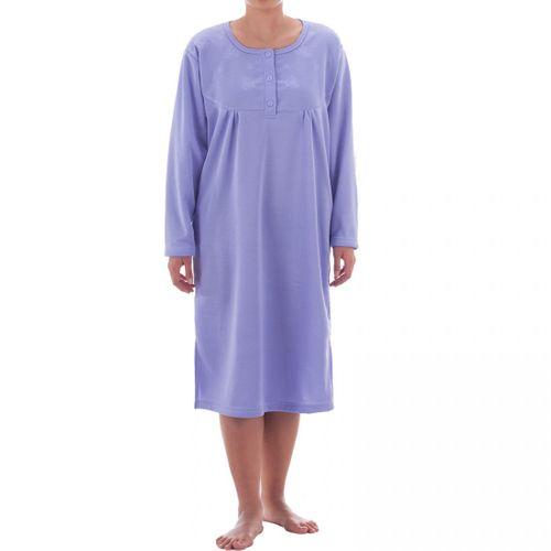 Romesa -  Thermo Nachthemd  angerauht unifarbend mit hochwertiger Stickerei, kuschlig warm – Bild 13