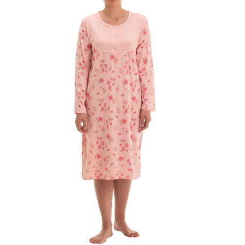 Zeitlos - Damen Nachthemd Fiona langarm mit Blumen Druck und Stickerei – Bild 5