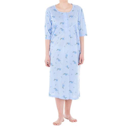 Lucky - Nachthemd kurzarm mit mittelgroße Blumen-Druckmix Große Größen 3XL-6XL Sommer Pastelltöne Jersey Nachtwäsche – Bild 7