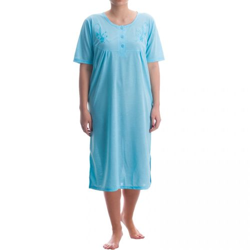 Lucky -  Nachthemd kurzarm Damen unifarbend einfarbig feminines Nachtkleid Sommer runder Ausschnitt – Bild 1