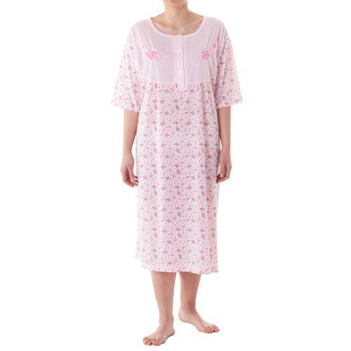 Lucky - Nachthemd kurzarm mit Druckmix und Stickerei Große Größen 3XL-6XL Sommer Pastelltöne Jersey Nachtwäsche – Bild 1