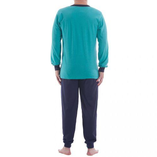 Lucky - Herren Pyjama Schlafanzug im Set mit Streifendruck  – Bild 4