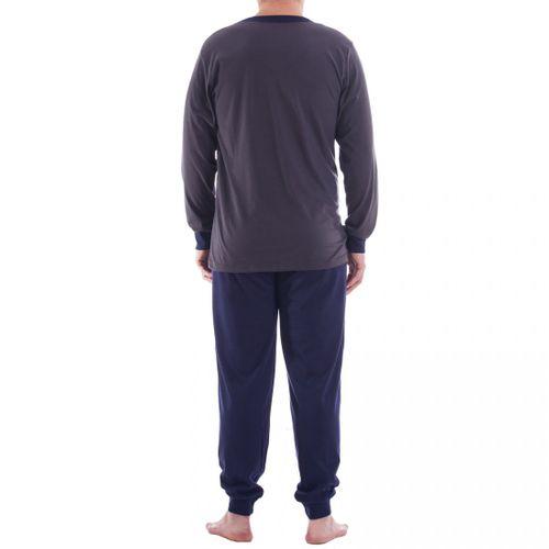 Lucky - Herren Pyjama Schlafanzug im Set mit Streifendruck  – Bild 8