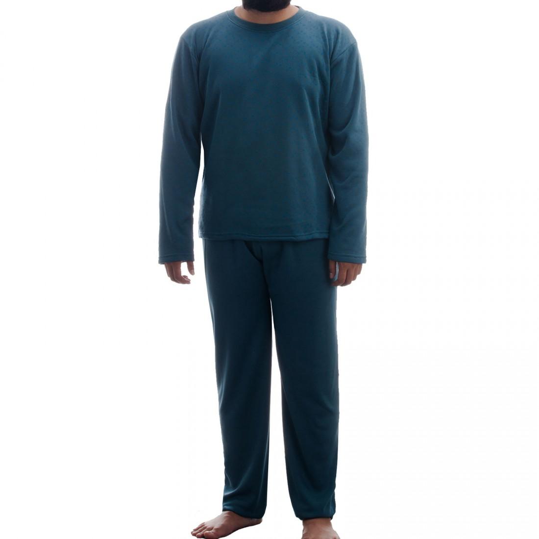 b64611e682 Lucky - Herren Thermo Pyjama Schlafanzug im Set Rundhals angerauht mit  Paisely Muster Winter – Bild