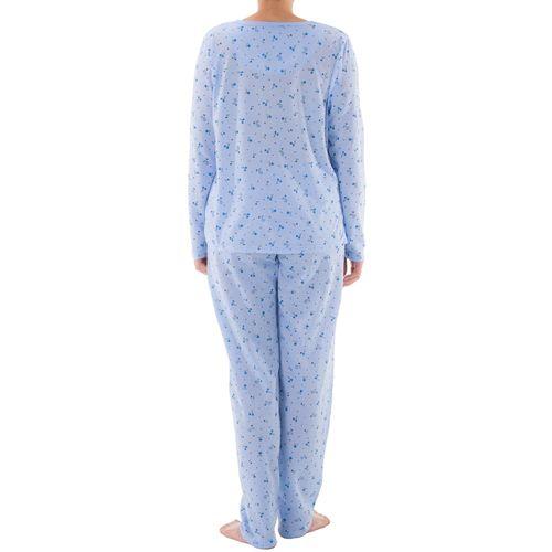 Lucky - Pyjama Set Damen lange Hose Langarm Shirt Blumenmuster Knopfleiste  Schlafanzug Nachtwäsche Jersey – Bild 557b83c237