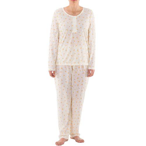 Lucky - Pyjama Set Damen lange Hose Langarm Shirt Blumenmuster Knopfleiste Schlafanzug Jersey – Bild 1
