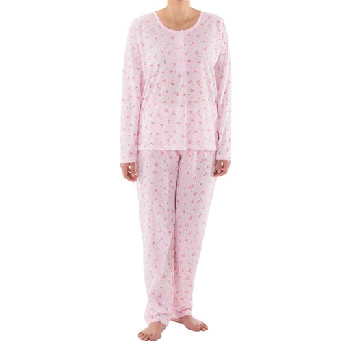 Lucky - Pyjama Set Damen lange Hose Langarm Shirt Blumenmuster Knopfleiste Schlafanzug Jersey – Bild 11