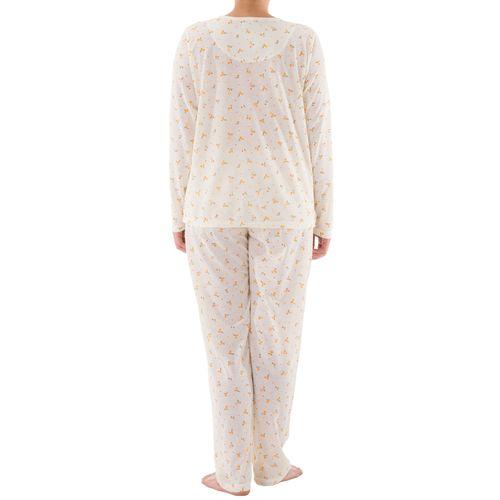Lucky - Pyjama Set Damen lange Hose Langarm Shirt Blumenmuster Knopfleiste Schlafanzug Nachtwäsche Jersey – Bild 2