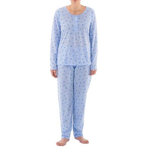 Lucky - Pyjama Set Damen lange Hose Langarm Shirt Blumenmuster Knopfleiste Schlafanzug Jersey – Bild 3