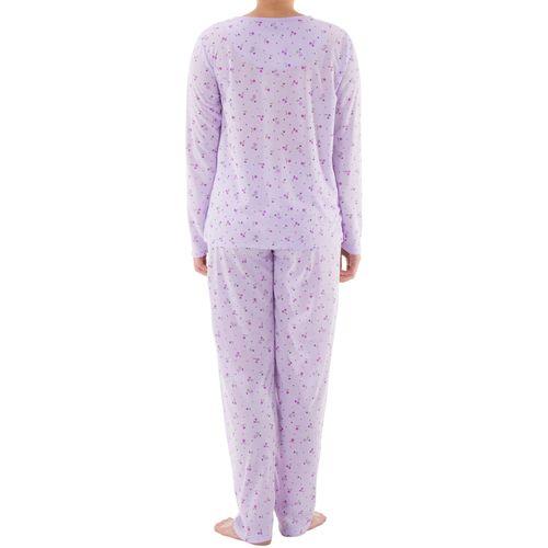 Lucky - Pyjama Set Damen lange Hose Langarm Shirt Blumenmuster Knopfleiste Schlafanzug Nachtwäsche Jersey – Bild 6
