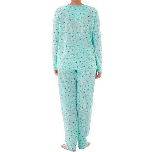 Lucky - Pyjama Set Damen lange Hose Langarm Shirt Blumenmuster Knopfleiste Schlafanzug Nachtwäsche Jersey – Bild 8