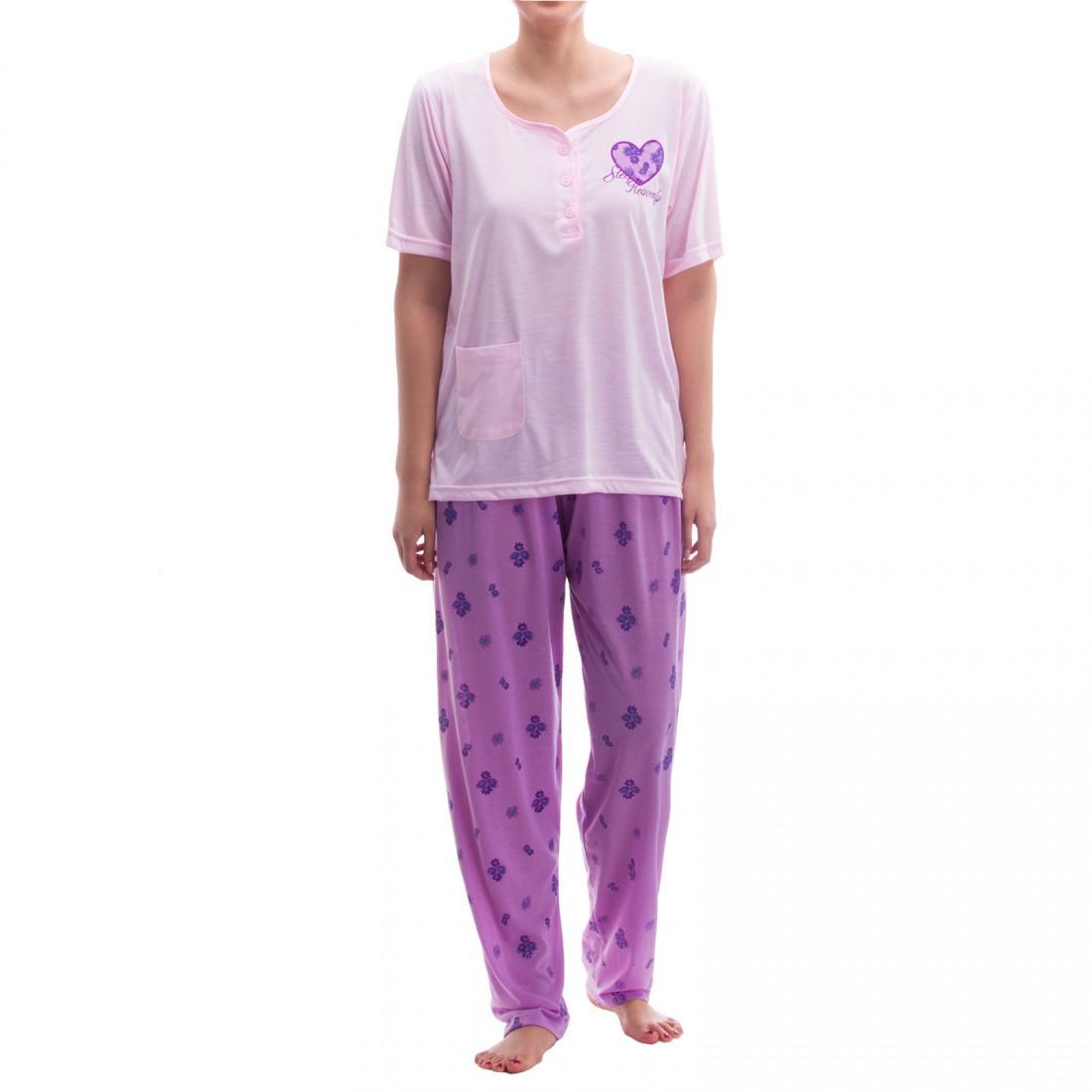 Lucky - Pyjama lange Hose T-Shirt mit Herz-Patch und Stickerei Damen ... fc5d01b682