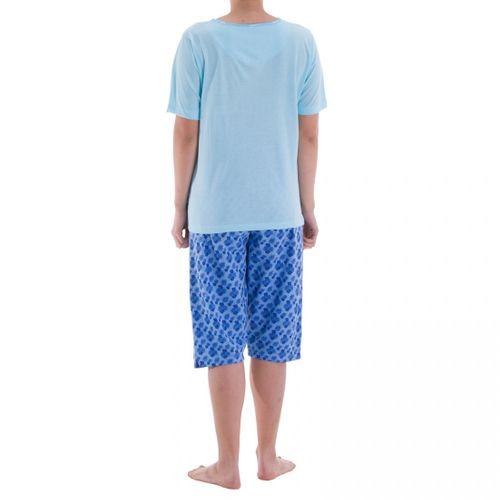 Zeitlos - Pyjama Schlafanzug Capri Ruby mit sommerlichen Blumendruck und Stickerei – Bild 4